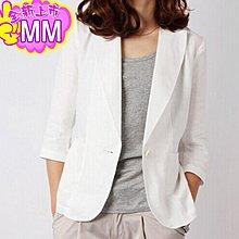 韓國MM= 韓版夏季亞麻小西裝七分袖修身一粒扣棉麻西服薄款外套女裝加大碼 =西裝外套/亞麻西裝/休閒西裝/薄外套上班外套