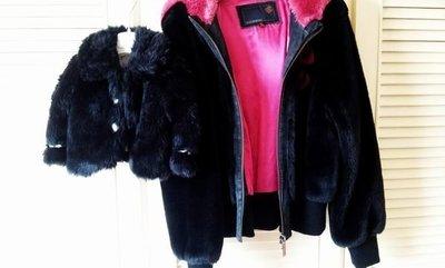 美國帶回 Rocawear 黑色毛茸茸桃紅絲緞內裡連帽外套 + 2T 袖口緞帶小開襟外套