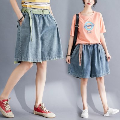 【An Ju Shop】原創設計文藝範 寬鬆顯瘦闊腿褲休閒牛仔褲短褲裙~CI035001