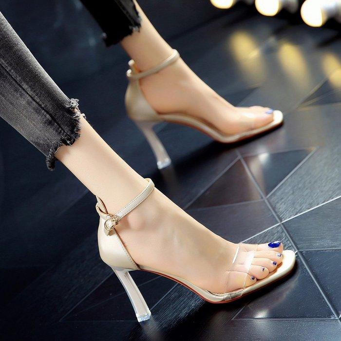 Fashion*韓版一字搭扣透明拼色 夏季新款露趾涼鞋 粗跟黃色網紅高跟鞋
