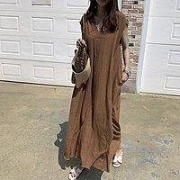 洋裝 寬鬆慵懶簡約風棉麻大V小包袖連