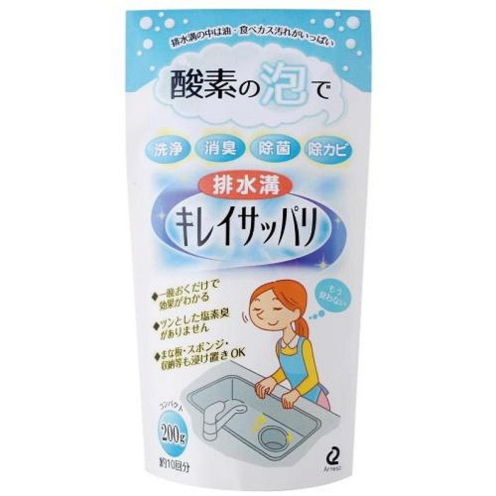 日本製 酵素の泡 洗碗槽 流理台 水管 清潔 酵素粉200g 766508