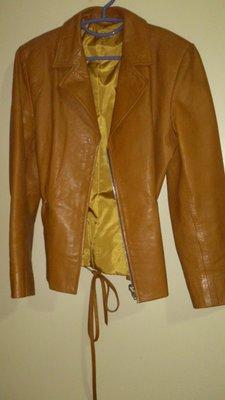 二手駝色騎士風皮衣綁帶外套 真皮 焦糖色