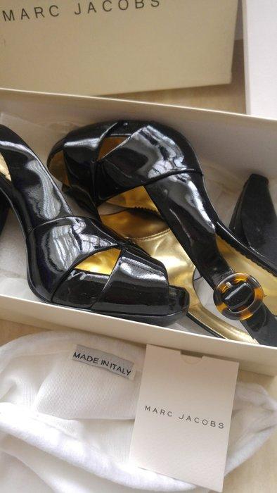 LV設計師 MARC JACOBS 黑漆皮玳瑁釦環厚底魚口高跟鞋
