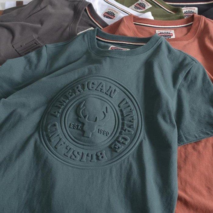 夏季新款短袖T恤男潮流港風寬鬆運動3D沖壓立體印花半袖學生純棉TBLBH
