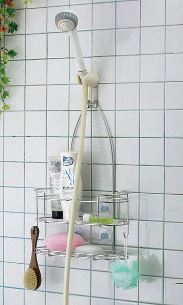 ☆成志金屬廠 ☆S-301-2A『免鑽孔』不鏽鋼蓮蓬頭吊籃沐浴乳、洗髮精置物架