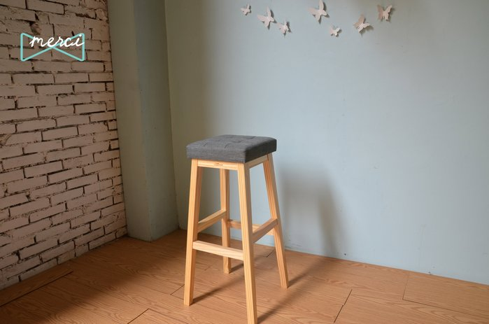 美希工坊JAN-PON吐司吧台椅/中島椅/吧台椅/ 亞麻灰/沙發坐感/原木椅架
