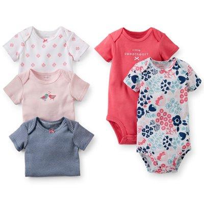 【USA美國精品時尚小舖】Carters 卡特 美國正品 可愛小鳥/美麗花朵/條紋短袖包屁衣五件組套裝