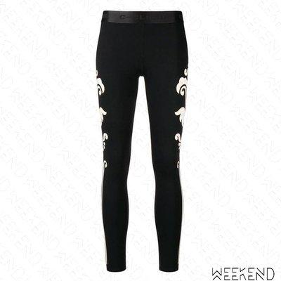 【WEEKEND】 PINKO 側邊圖騰 緊身 貼腿褲 內搭褲 黑色