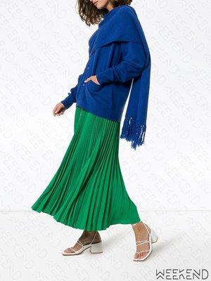 【WEEKEND】 PUSHBUTTON 針織 排扣 可開岔 附披巾剪裁 長袖 上衣 藍色 19秋冬