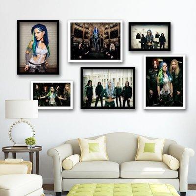 雜貨小鋪 大敵Arch Enemy金屬搖滾樂隊海報 琴行吉他手酒吧有框畫裝飾掛畫