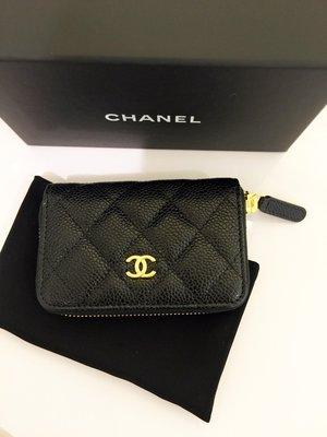 Chanel 香奈兒黑色荔枝皮ㄇ型拉鍊零錢包/信用卡夾