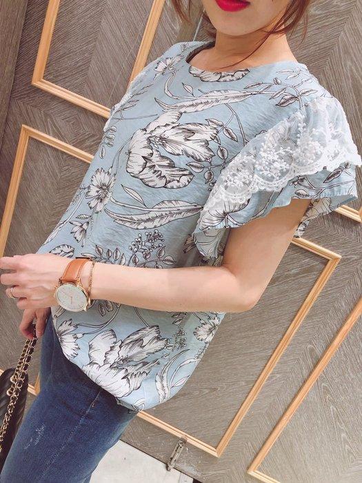 港組 滿版花朵蕾絲荷葉袖棉麻衫/荷葉袖/短袖棉麻衫【Ann niu韓國代購】現貨