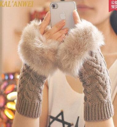 卡蘭薇 手套女生冬可愛女士露指韓版冬季保暖手臂套毛線半指手套    下標請留言款式