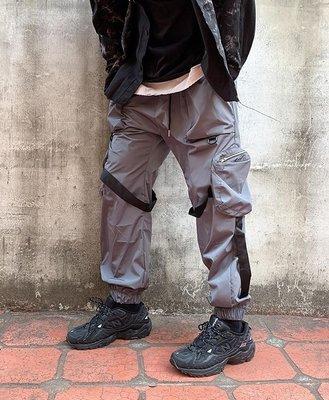【inSAne】韓國購入 / 飄帶 / 綁帶 / 口袋 / 工作褲 / 縮口褲 / 黑色 & 灰色