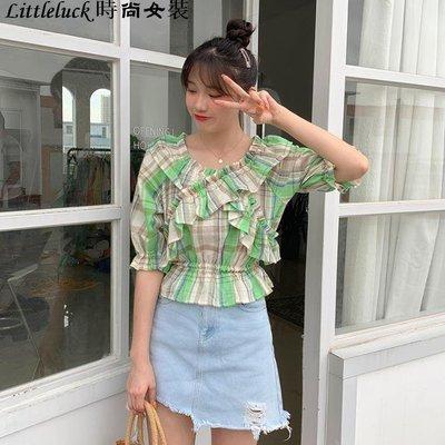 Littleluck~女裝時尚夏季荷葉邊拼接格子一字領露肩喇叭袖超仙襯衫上衣氣質顯瘦女