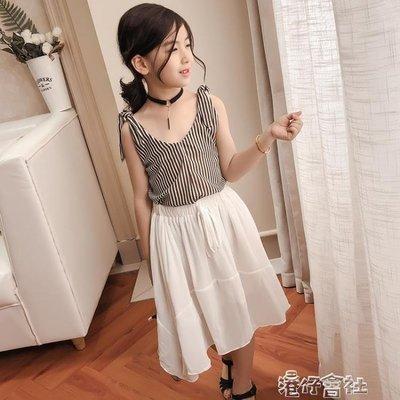 中大童裝女童洋氣夏裝雪紡套裝韓版兒童時髦裙子兩件套潮 港仔會所
