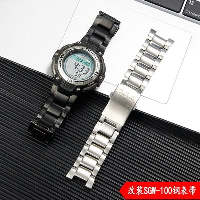 錶帶 錶帶配件 代用卡西歐表帶SGW-100實心精鋼表帶3157 SGW100改裝不銹鋼帶 阿嬌物語