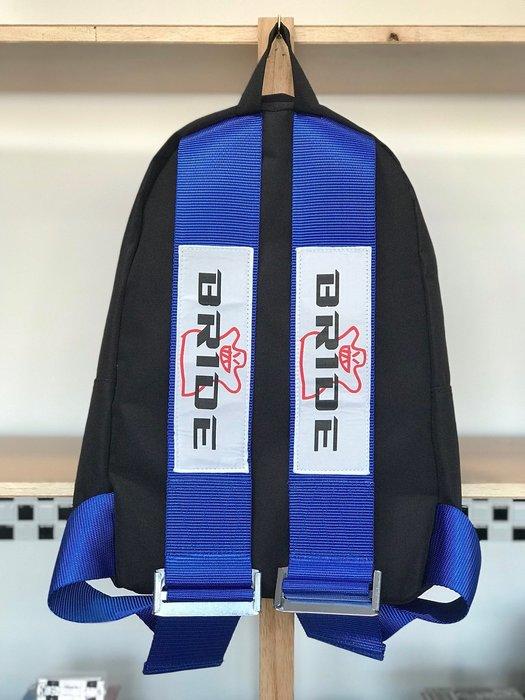 (I LOVE樂多)BRIDE SPARCO TAKATA JDM 後背包 藍底 白色LOGO背帶 淺灰色
