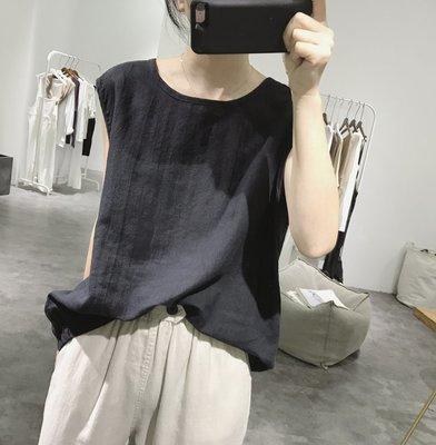 圓領背心 夏季含版寬鬆顯瘦上衣 簡約後排釦無袖背心 棉麻背心 4色(預購)