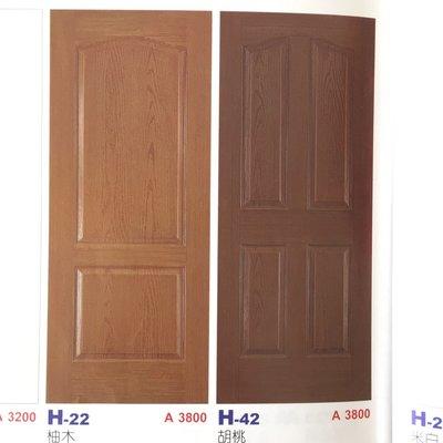 (美宅網)  H-42胡桃木色木纖門  寬90   高200 鎖孔中心點由門片上方至下100公分(可訂製尺寸)