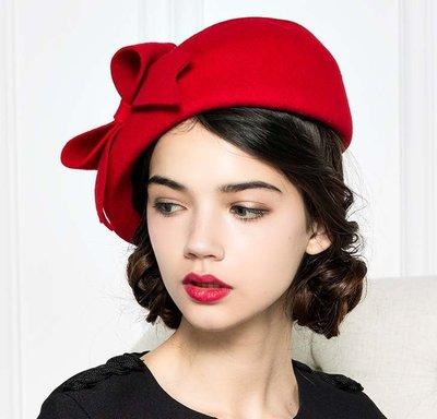 早秋新款 時尚毛呢氊帽 側戴小禮帽 純色蝴蝶結帽子