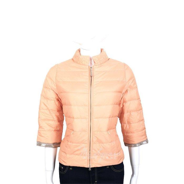 米蘭廣場 FABIANA FILIPPI 粉橘色車縫設計拼接珠飾七分袖羽絨外套 1420106-39