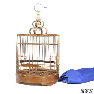 鳥籠 畫眉 籠子 繡眼鳥籠紫竹拋光雙層底鳥籠圓籠小鳥籠活底可拆卸全館免運