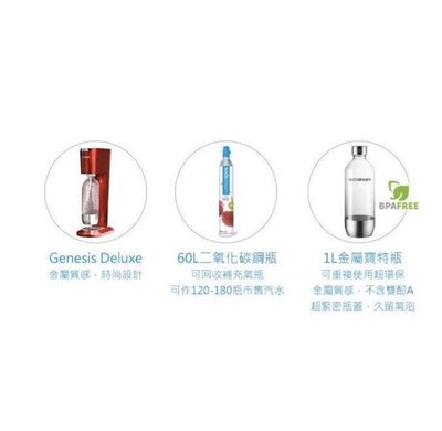 真真的家 Sodastream Genesis氣泡水機(金屬紅)鋼瓶期限2023.09 附寶特瓶 特價2388元