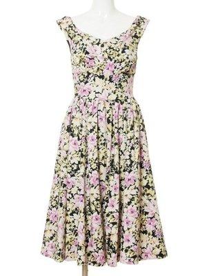 Snidel正品 復古女伶花朵洋裝 日本專櫃 1號(M)