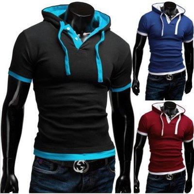 速賣通2017夏季新款短袖POLO男 外貿批發吊繩連帽款短袖T恤潮