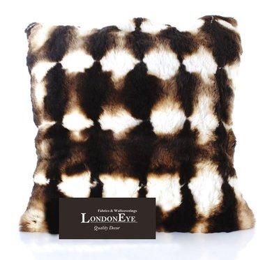 【 LondonEYE 】RETRO Classic 奢華經典系列X天然兔毛質X皮革抱枕靠枕 動物紋 樣品屋/豪宅(含芯)