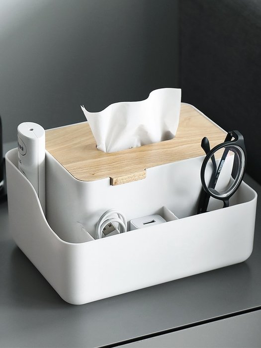 北歐簡約風格創意客廳茶幾多功能紙巾盒遙控器收納盒木質抽紙盒