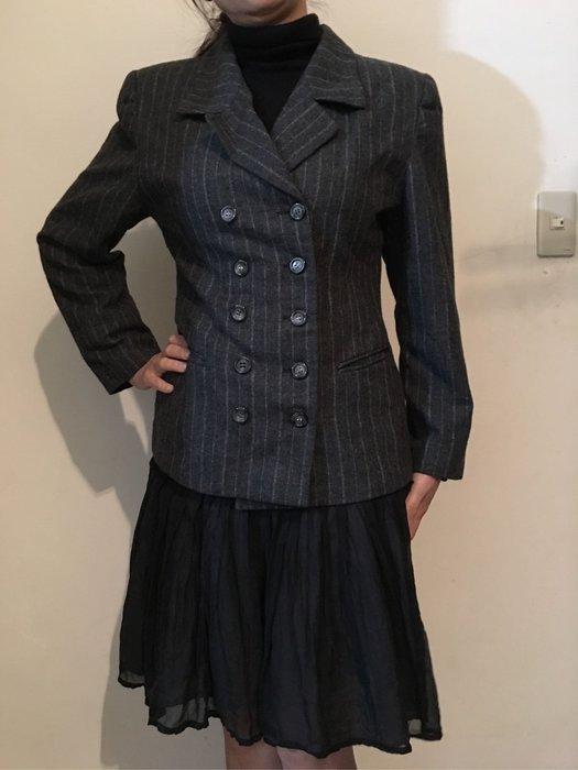 二手百貨專櫃KIKI 灰色西裝外套 OL上班族正式雙排釦毛料外套