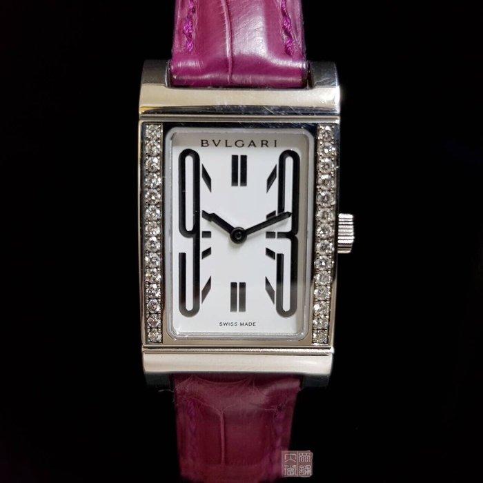 BVLGARI寶格麗時尚18白k金錶 錶徑2.1cm*3.1cm18白k原廠鑽石外圈 大眾當舖 流當品 商品編號873