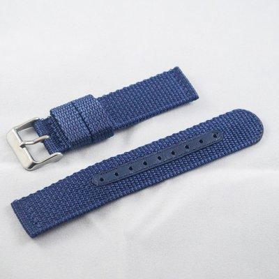 日本進口尼龍錶帶,深藍色,不鏽鋼錶釦,20mm