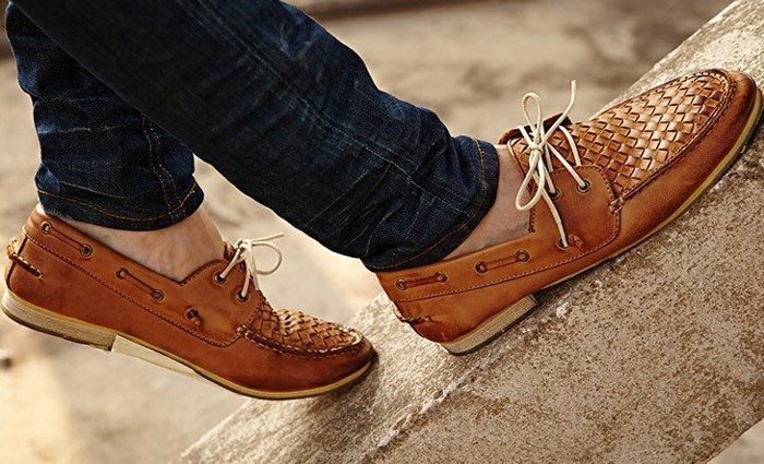 日暮瓦宅 SA36 歐美休閒復古仿編織感男鞋帆船鞋懶人鞋