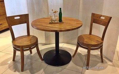 【美日晟柚木家具】柚木圓桌.餐桌.鐵腳桌.2-4人桌.現代款.工業風