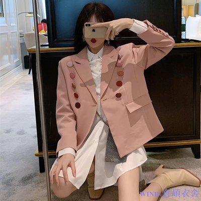 WIND-倉頡衣舍~春秋裝女2019新款網紅套裝俏皮減齡粉色西裝外套+中長襯衣兩件套
