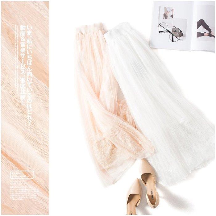 A157 專櫃柔軟網紗拼接鬆緊腰修身顯瘦百褶裙蛋糕裙