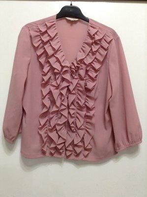 MY DE GIRL 粉色七分袖荷葉邊襯衫