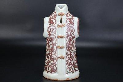 ㊣姥姥的寶藏㊣元代出土釉裡紅花卉紋外衣雕塑瓷 古玩