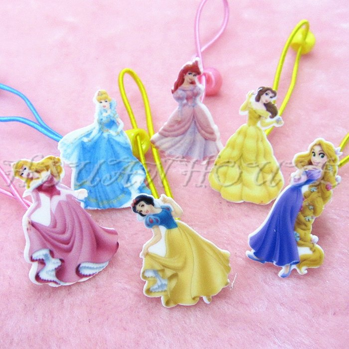貝兒 小美人魚 長髮公主 白雪公主 睡美人 灰姑娘 公主 壓克力 兒童 髮飾 髮繩 髮束