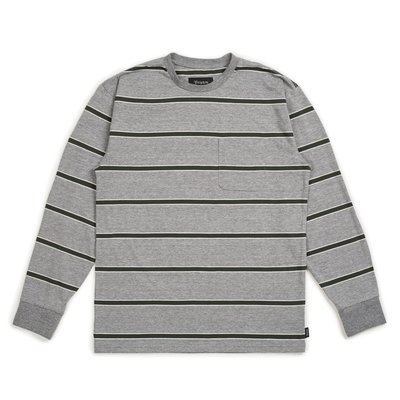 Brixton - HILT WSHD L/S POCKET HEATHER GREY/PINE 條紋 長袖 口袋Tee
