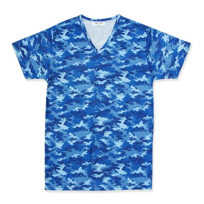 【TELITA】吸溼涼爽迷彩網眼短袖V領衫/T恤-蔚藍