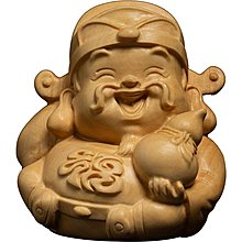 小葉黃楊木福祿壽三星喜財新木雕擺件工藝品實木新佛像文玩把玩手把件轉運 木雕GJ-001