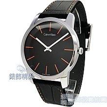 【錶飾精品】CK 手錶 K2G211C1 Calvin Klein 經典時尚 都會型男 橘時標 黑皮帶 男錶