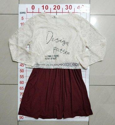 【二手衣櫃】Soon Chun 寬鬆大尺碼長袖洋裝 白色鏤空蕾絲連身裙女中長款長袖修身內搭打底裙 1090328