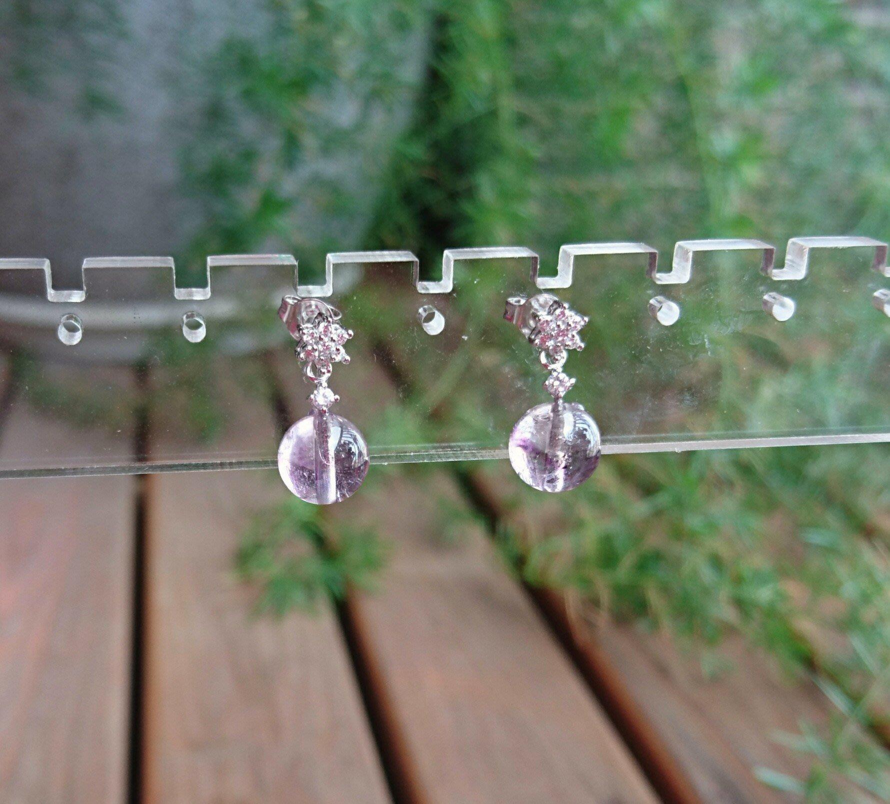 ~水晶花園~ 天然能量水晶 清透 骨幹紫水晶耳環 骨幹水晶含有七種礦物以上,有助於七脈輪的能量