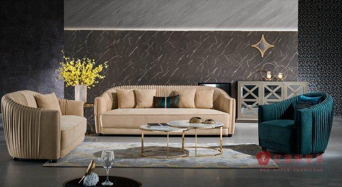 [紅蘋果傢俱] YKS889 歐式輕奢唯美 布沙發  歐式麂皮沙發  新古典沙發 黃銅五金沙發 美式沙發